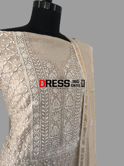 Tissue Chanderi Chikankari Suit with Beads Work - Dress365days