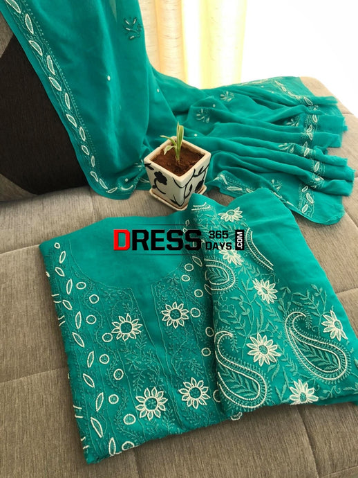 Turquoise Green Pearl Chikankari Suit Suits
