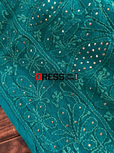Load image into Gallery viewer, Turquoise Hand Embroidered Mukaish Chikankari Dupatta Suits
