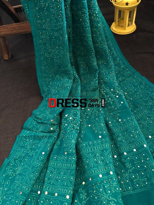 Turquoise Hand Embroidered Mukaish Chikankari Dupatta Suits
