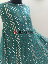 Load image into Gallery viewer, Turquoise Mirror Gota Patti Anarksli Suit Chikankari Anarkali