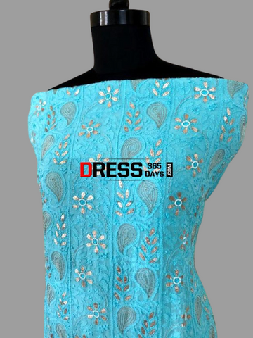 Viscose Georgette Gota Patti and Beads Work Chikankari Suit