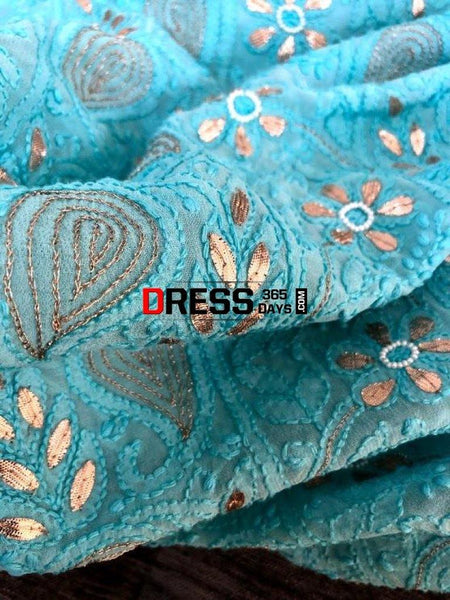 Viscose Georgette Gota Patti And Beads Work Chikankari Suit Suits