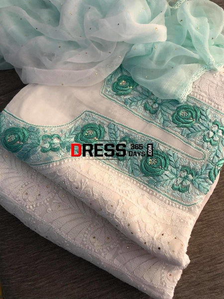 White And Green Lucknowi Chikankari Georgette Suit Suits