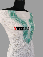 Load image into Gallery viewer, White And Green Lucknowi Chikankari Georgette Suit Suits