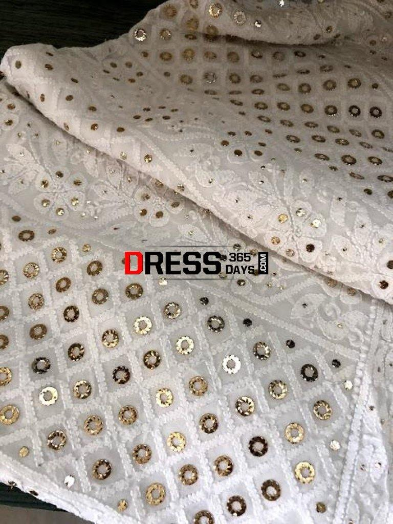 White Chikankari And Ring Mukaish Suit Suits