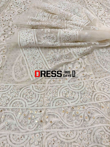 White Chikankari Net Anarkali With Mukaish (Anarkali And Dupatta)