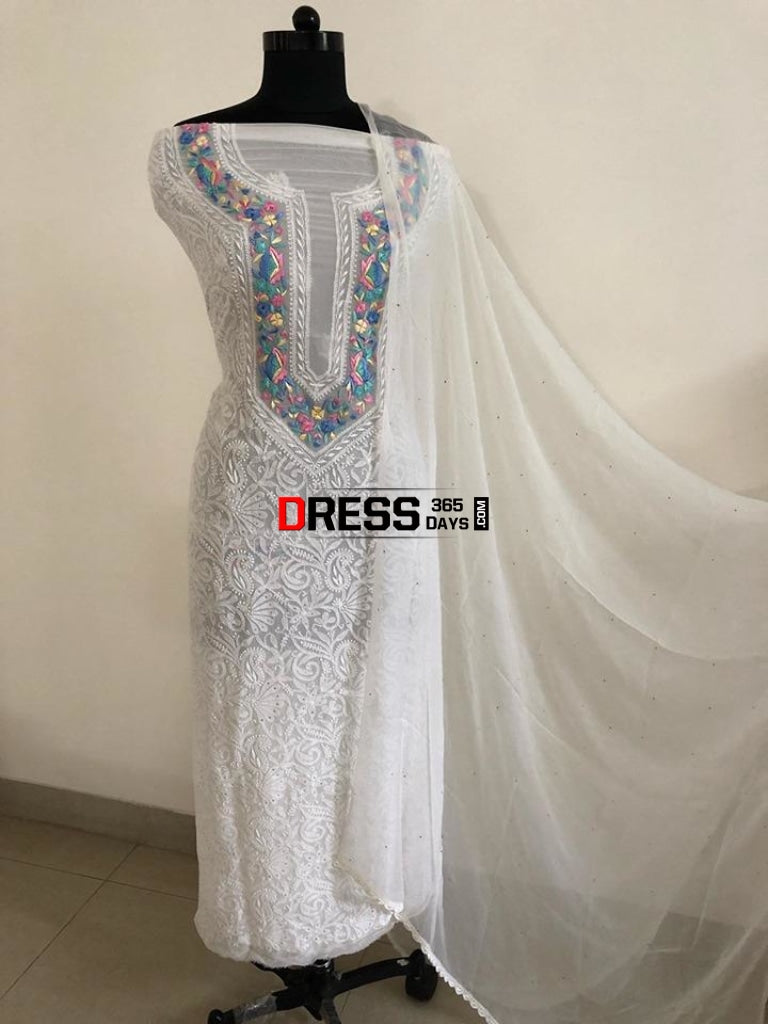 White Chikankari Parsi Hand Embroidered Neckline Suit Suits