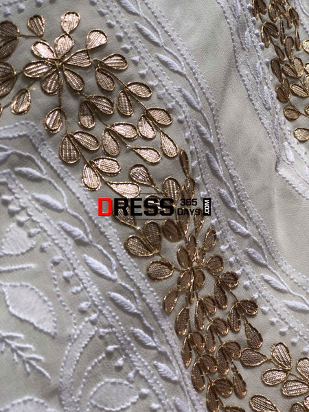 White Chikankari Suit With Gotta Patti Neckline Suits