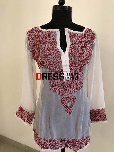 White Georgette Chikan Top Chikankari Tops