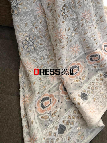 White Gota And Pearls Chikankari Dupatta