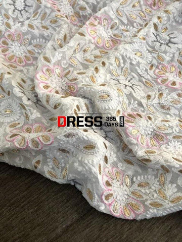 White Gota Patti And Pearls Work Dupatta Chikankari