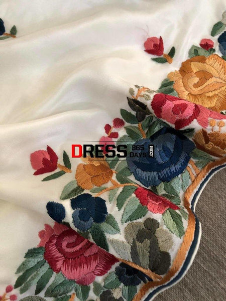 White Parsi Gara Hand Embroidered Suit (Three Piece) Suits