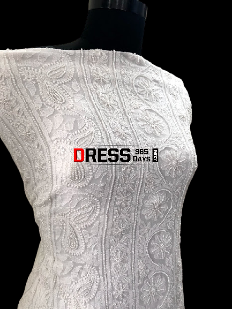 White Pearl Lucknowi Chikankari Suit Suits