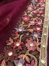 Load image into Gallery viewer, Wine Organza Pearl Chikankari Suit Suits
