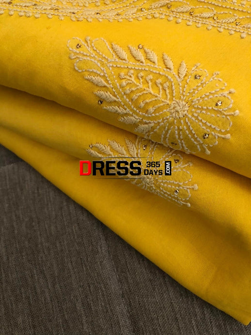 Yellow Chanderi Kamdani Suit Chikankari Suits