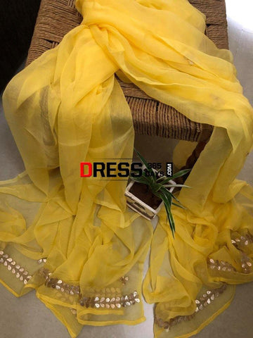 Yellow Chiffon Dupatta With Gota Patti