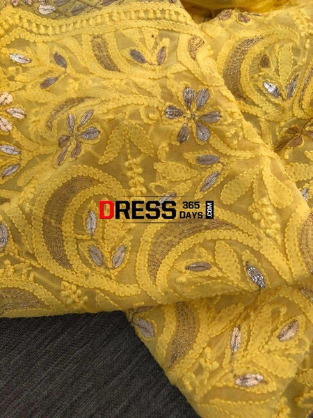 Yellow Gota Patti Georgette Chikankari Suit Suits
