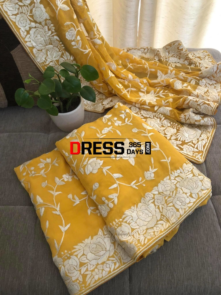Yellow & Ivory Hand Embroidered Parsi Gara Suit (Three Piece) Suits