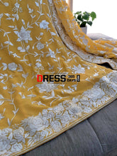 Load image into Gallery viewer, Yellow & Ivory Hand Embroidered Parsi Gara Suit (Three Piece) Suits