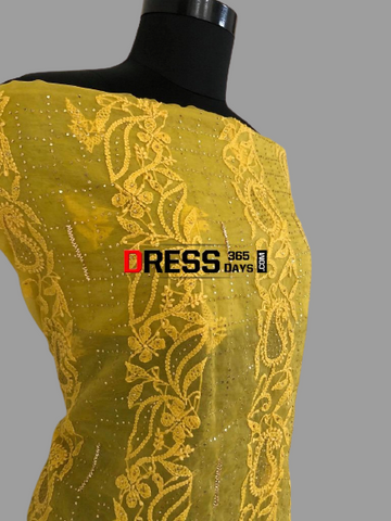 Yellow Lucknow Chikankari Suit with Mukaish