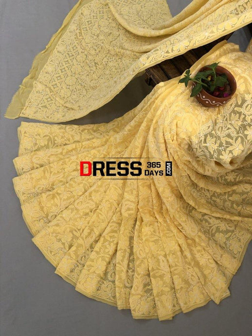 Yellow Lucknowi Chikankari Saree