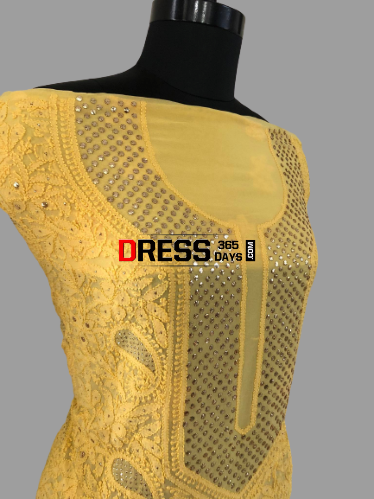 Yellow Mukaish Neckline Chikankari Suit (Three Piece) Suits