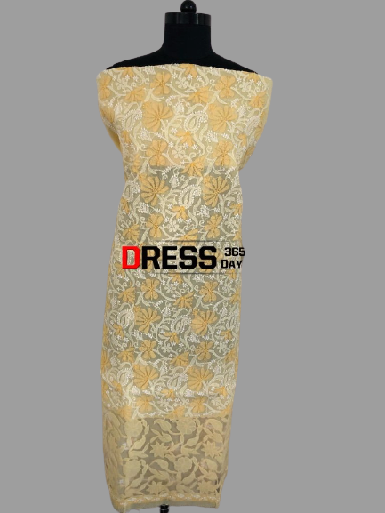 Yellow Net Daaman Cotton Chikankari Kurti Fabric