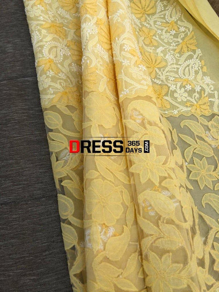 Yellow Net Daaman Cotton Chikankari Kurti Fabric Fabric