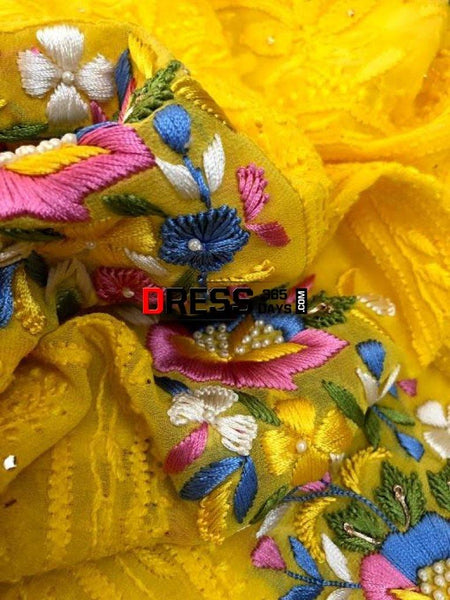 Yellow Parsi Gara Chikankari Suit Suits