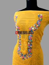 Load image into Gallery viewer, Yellow Parsi Neckline Chikankari Suit (Three Piece) Suits