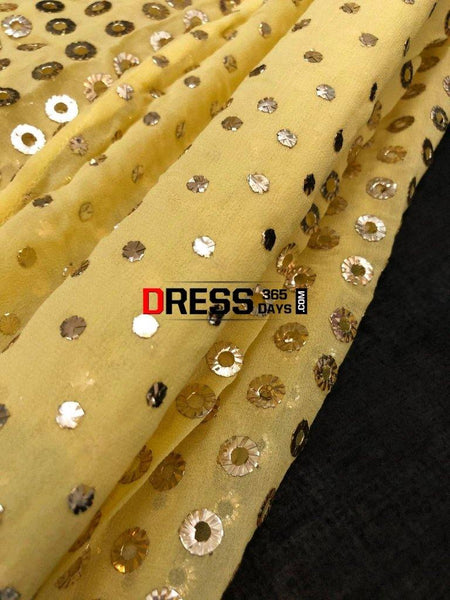 Yellow Ring Mukaish Anarkali Suit Chikankari