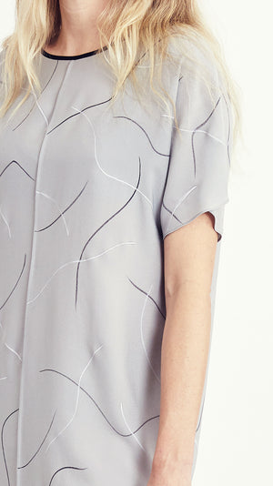 LAZY DRESS / squiggles on grey