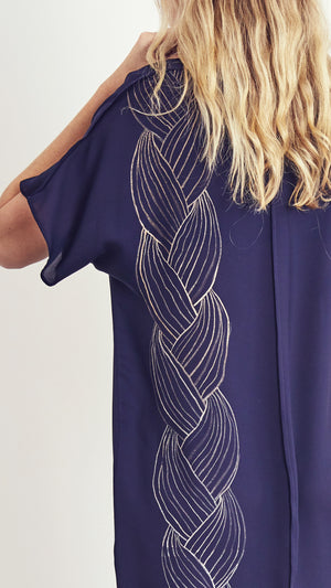LAZY DRESS / braid on navy