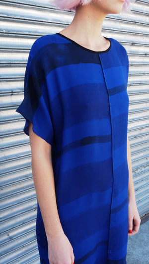 LAZY DRESS / multi-stripe on sapphire