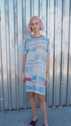 LAZY DRESS / pink + blue stripe on grey