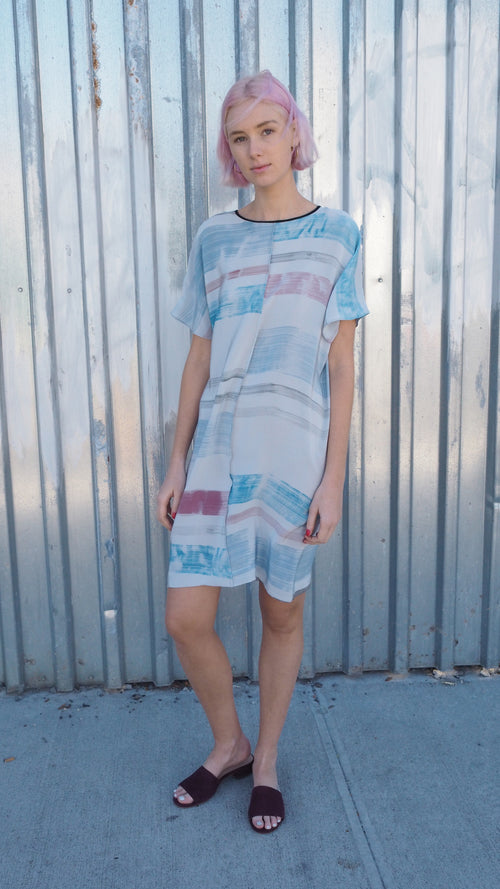 lazy dress / pink + blue stripe / grey
