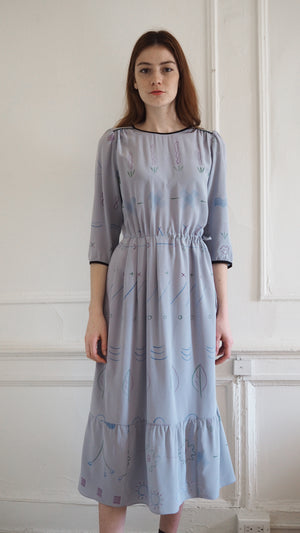 CLEMENTINE DRESS / mixed signals on grey