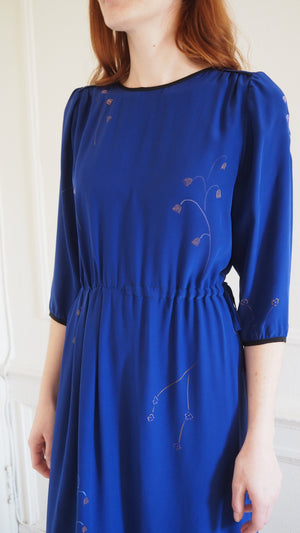 CLEMENTINE DRESS / spring flowers on sapphire