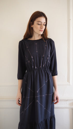 CLEMENTINE DRESS / silver arrows on black