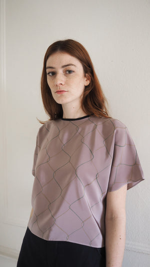 SILKY TEE / chainlink on mauve