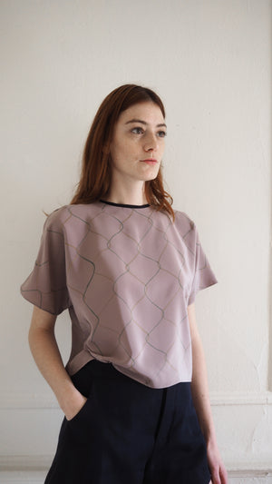 t-shirt top / chainlink / mauve