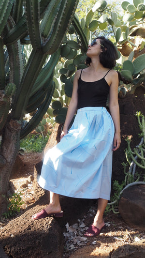 CURTAIN SKIRT / blue grass