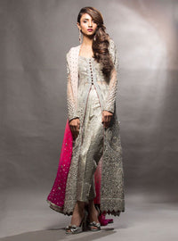 Grey dress with gradient pink dupatta