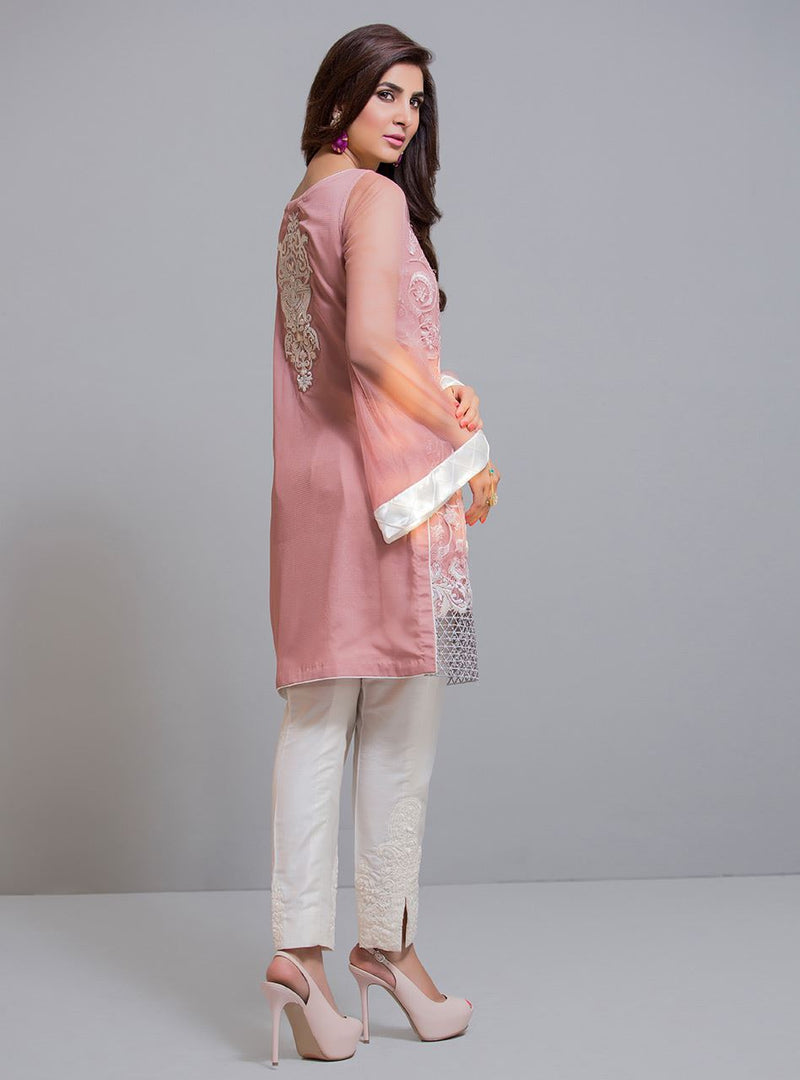Salmon pink and ivory shirt