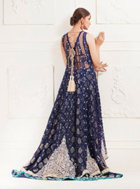 NAvy blue floral paneled net dress