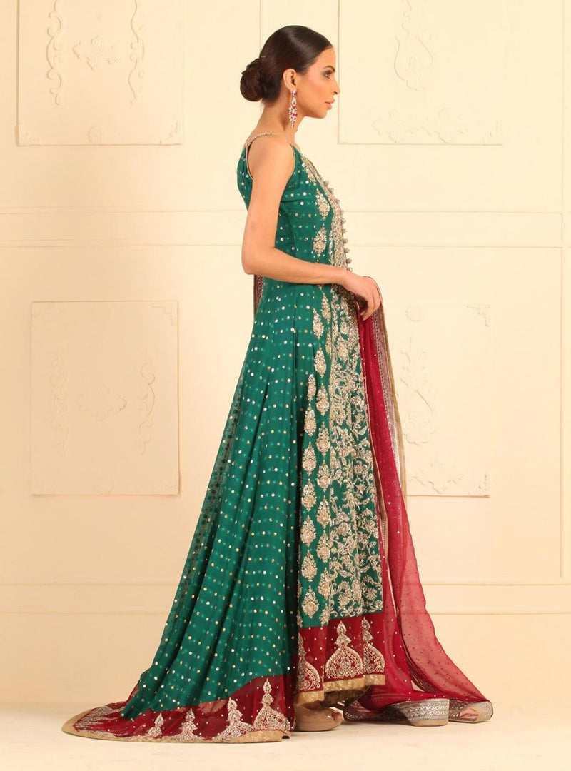 Green khaddi net floor length dress