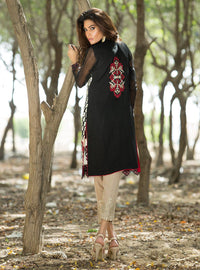 Embroidered black and maroon shirt