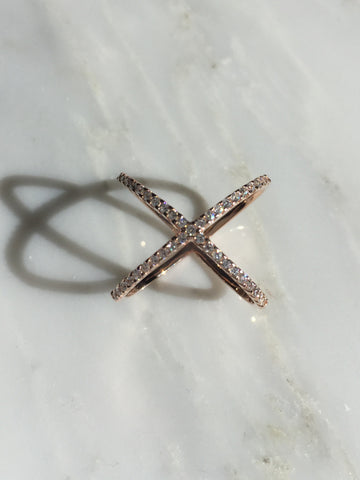 .925 Sterling Silver CZ X Ring (Special Order Christina Lema)