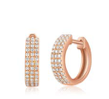 Triple Row Diamond Huggie Earring
